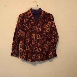 Vintage style long sleeve muted roses top blouse
